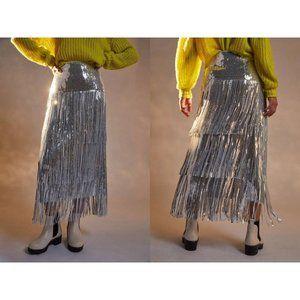 ANTHROPOLOGIE Tatiana Sequined Fringe Midi Skirt